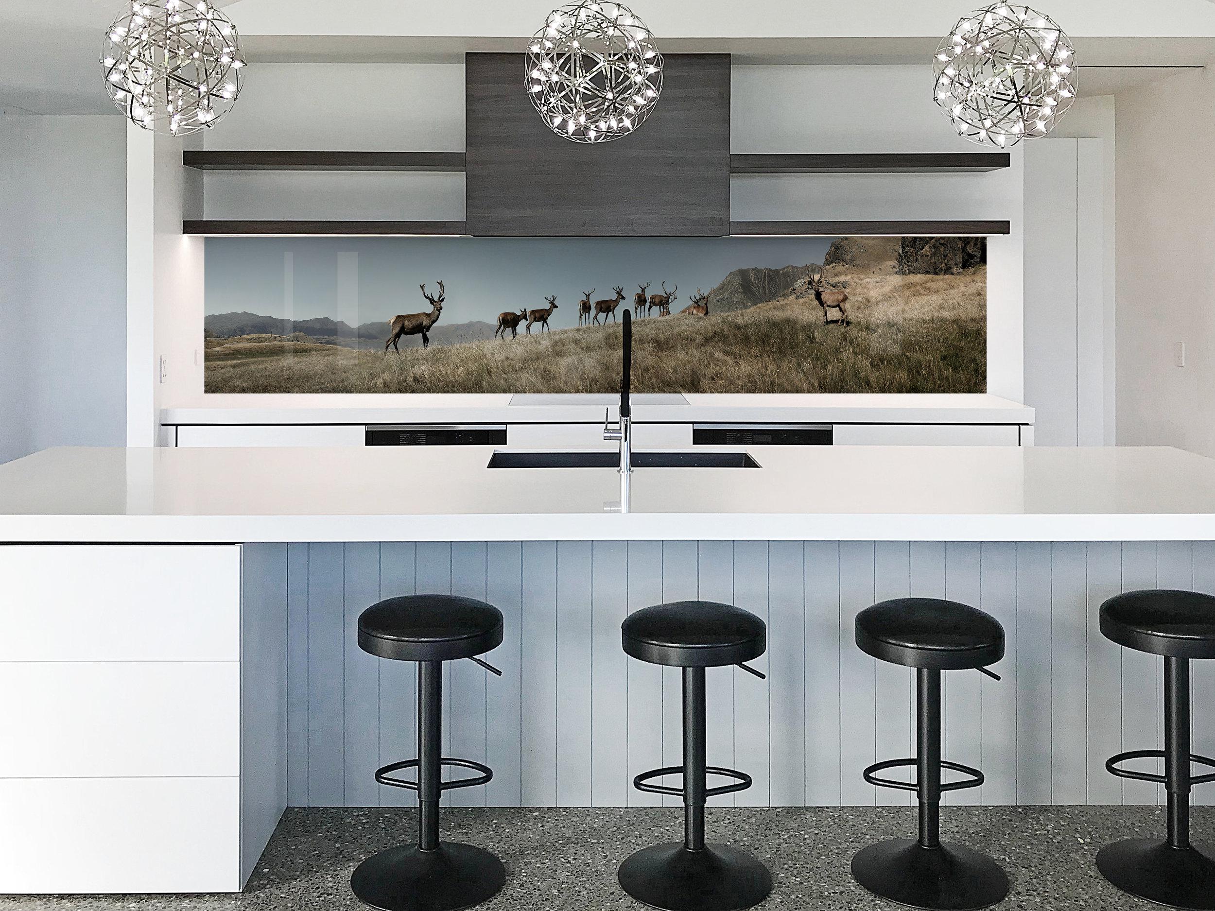 Deers glass splashback