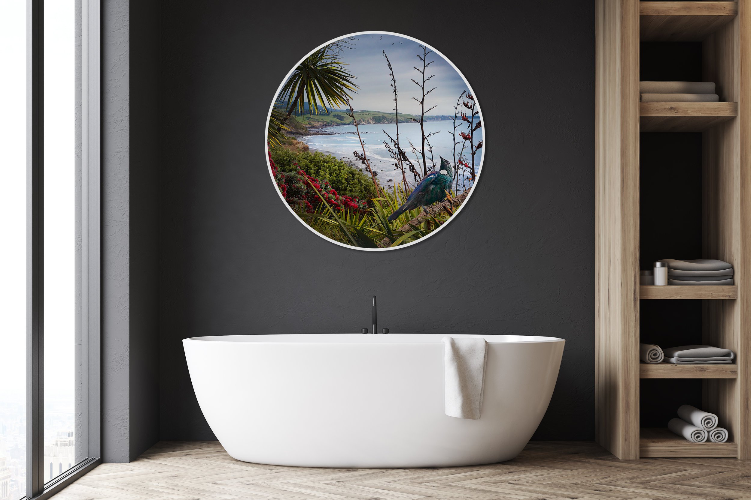 ''A Beautiful Journey''  1200mm diameter circular glass wall artwork featuring NZ Tui, Pohutukawa and Flax overlooking a bay.