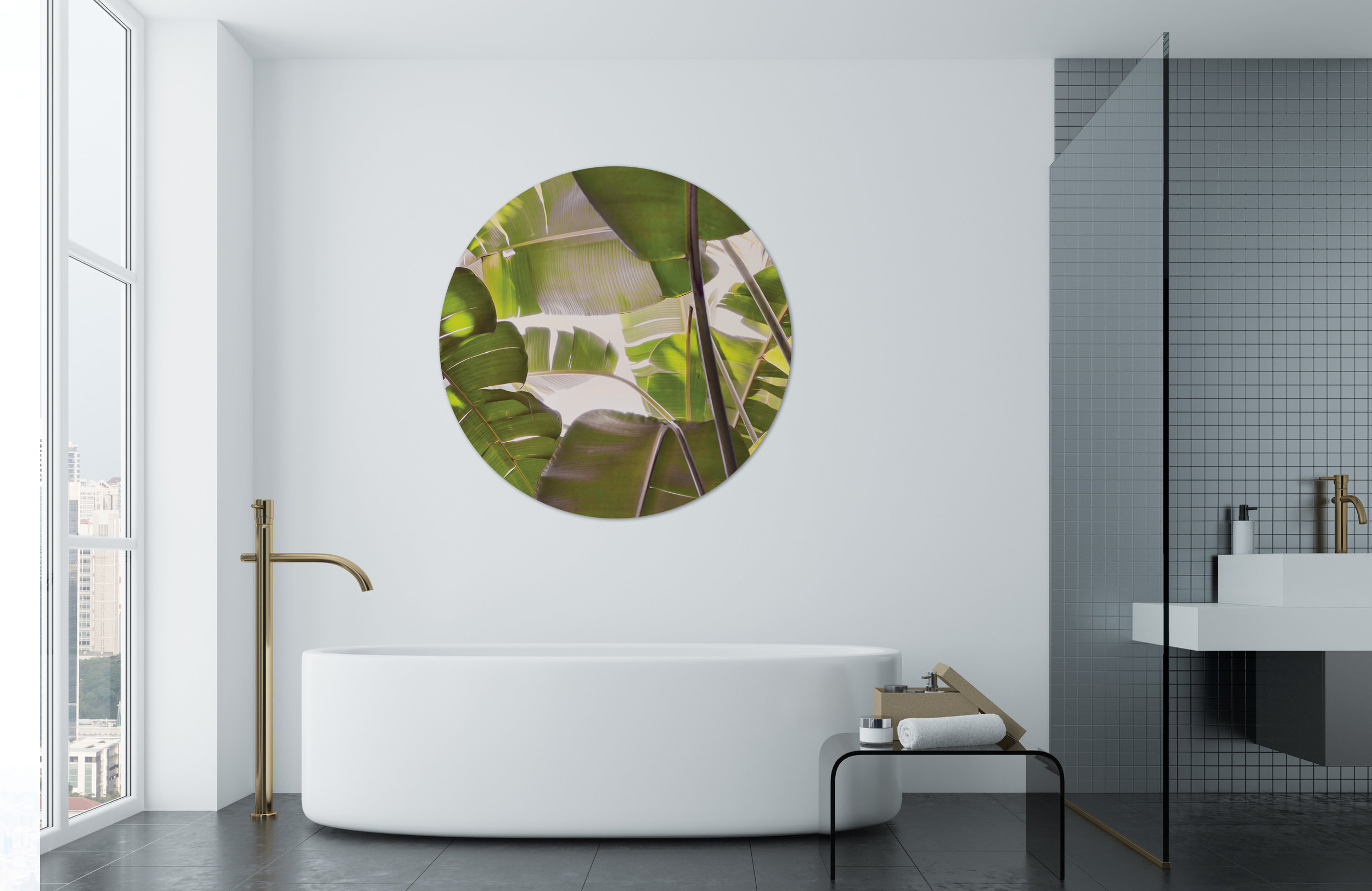 Tropical  Banana Palm  circular glass wall artwork 1200mm diameter circular.