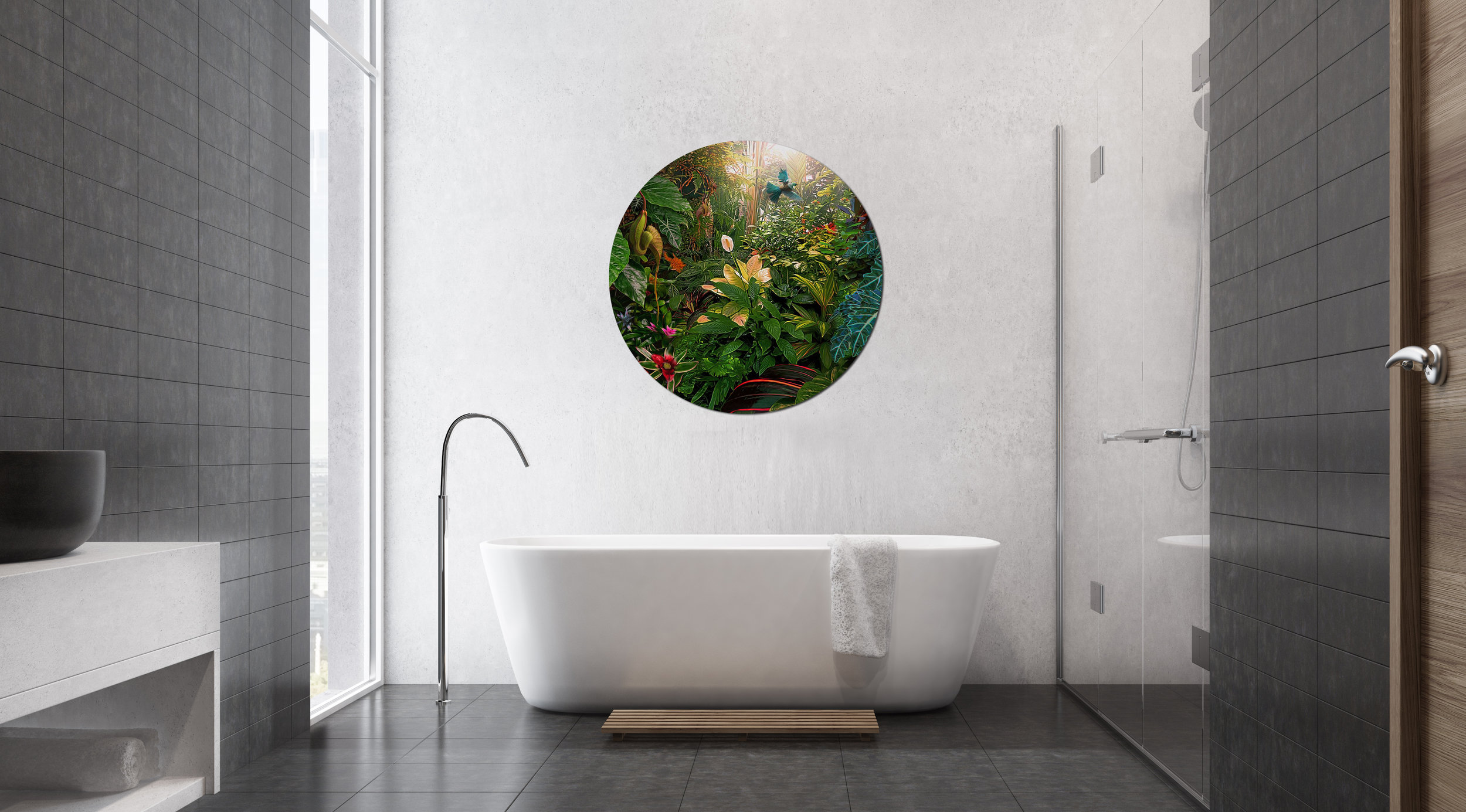 '' Earthly Delights '' Tui and tropical plants 1200mm circular glass wall artwork