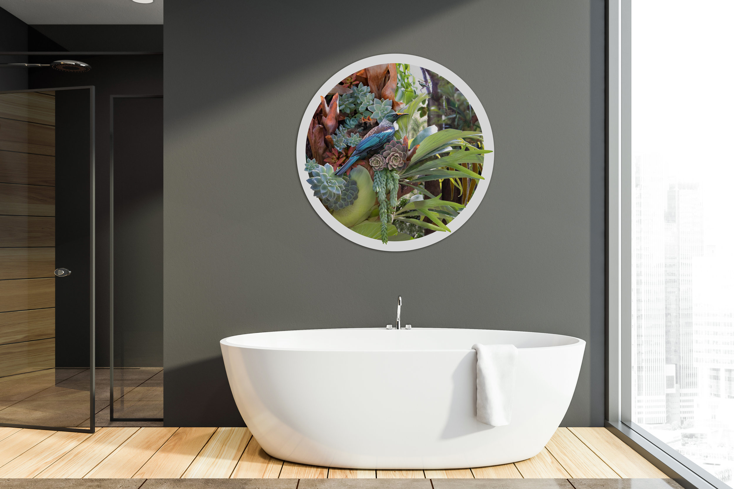 ''Heaven's Messanger''  Tui and staghorn 1200mm diameter circular glass wall artwork
