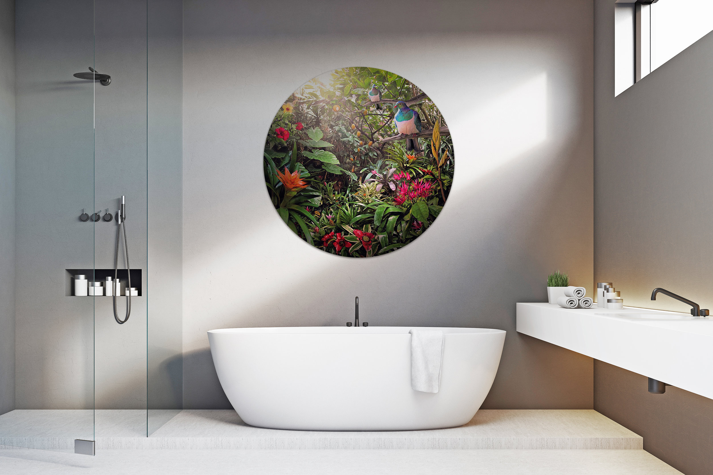 '' Temptation '' 1200mm diameter circular glass wall artwork