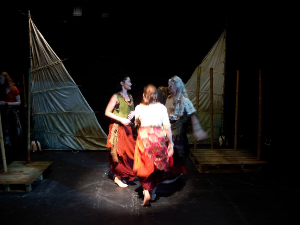 Gypsy dancers Kamila, Josie, and Julie. Set by Rachael Ryan and lighting design by Jordan Lightfoot