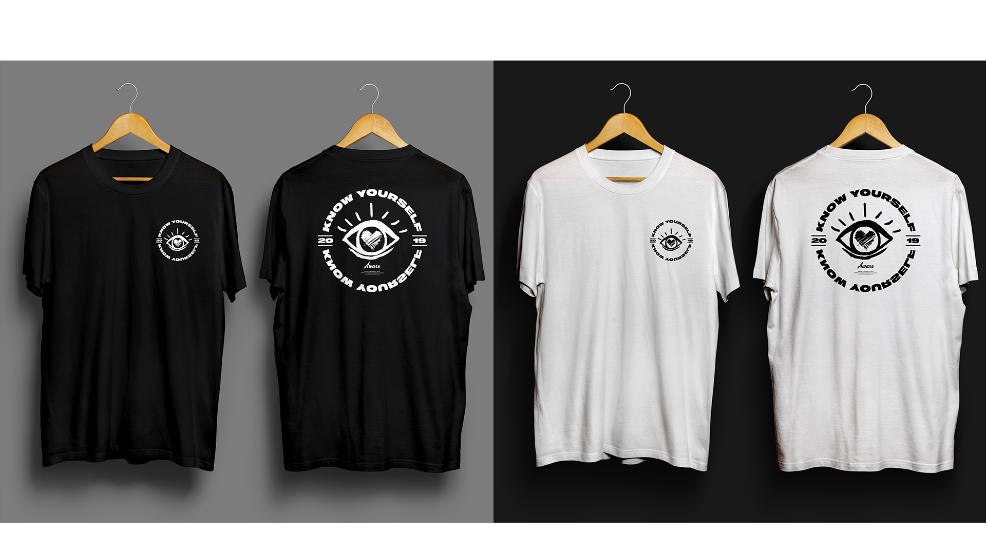 """Know Yourself Collection - This collection featured the signature eye logo in emblem form surrounded by the arching phrase """"know yourself"""". In 2019, the """"pocket"""" printing location became incredibly popular. The emblem was duplicated on the back at larger scale, which was also a huge trend."""