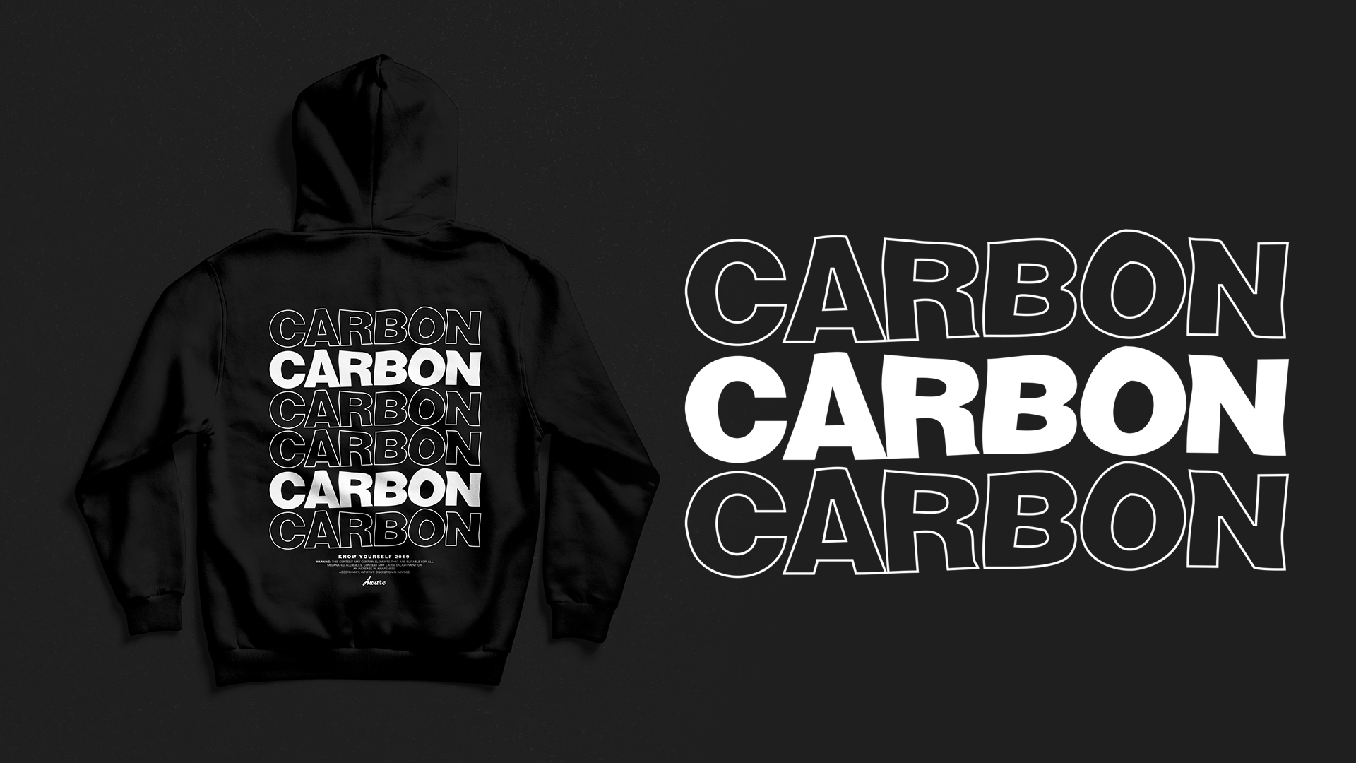 Carbon Collection - After stumbling upon very interesting research, the element carbon became very fascinating to me. Upon my explanation of my research and discovery, the owners wanted to implement it into a signature line. The design features the now overly saturated repetitive text combined with some outline type