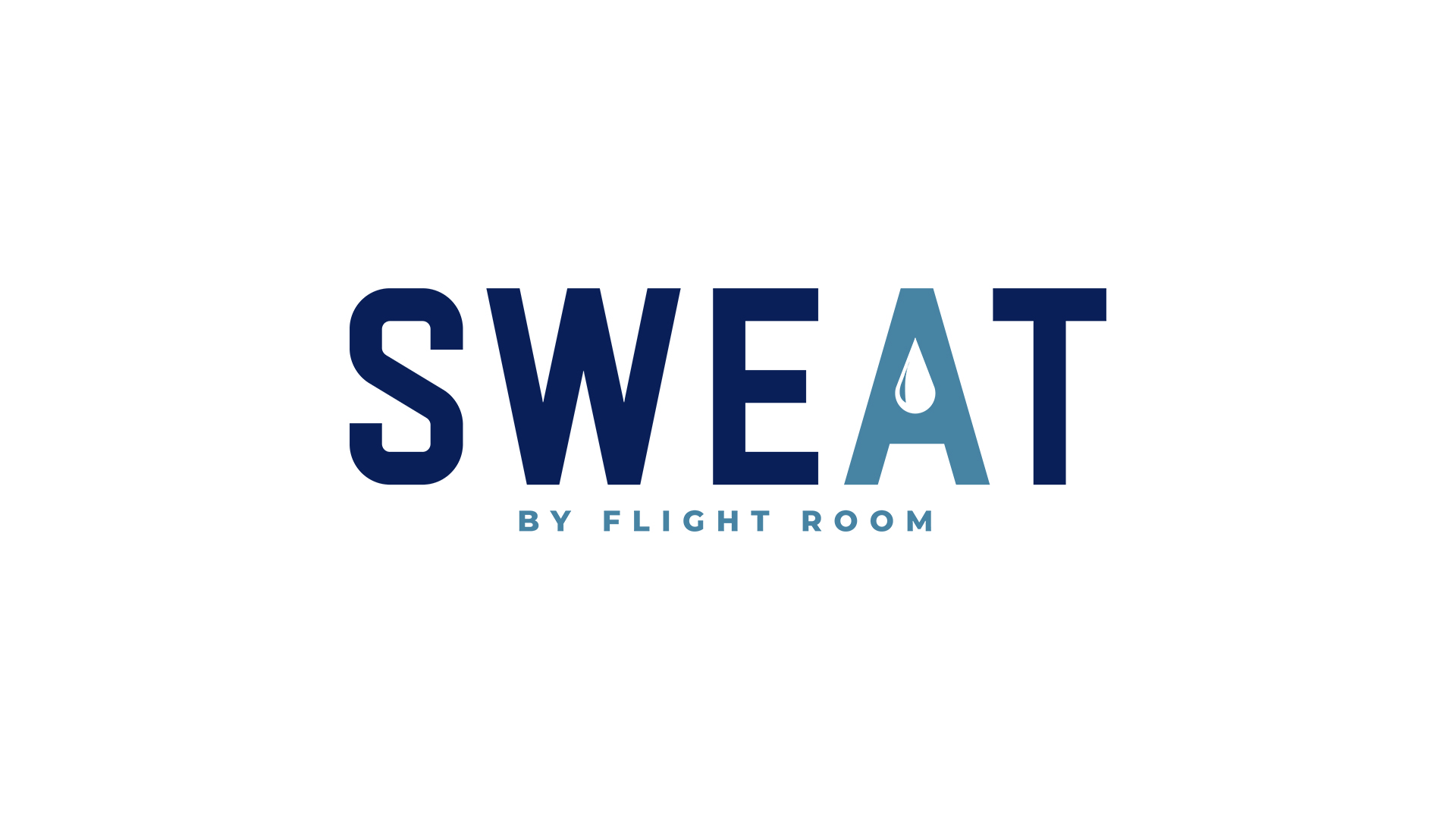 """SWEAT - SWEAT by Flight Room is a boutique cycle studio that features high intensity cardio workouts led by world class trainers. SWEAT was born out of owner and operator, Jamar Clarke's, passion for fitness. The drop of sweat element in the """"A"""", gives this logo an easy identifier."""