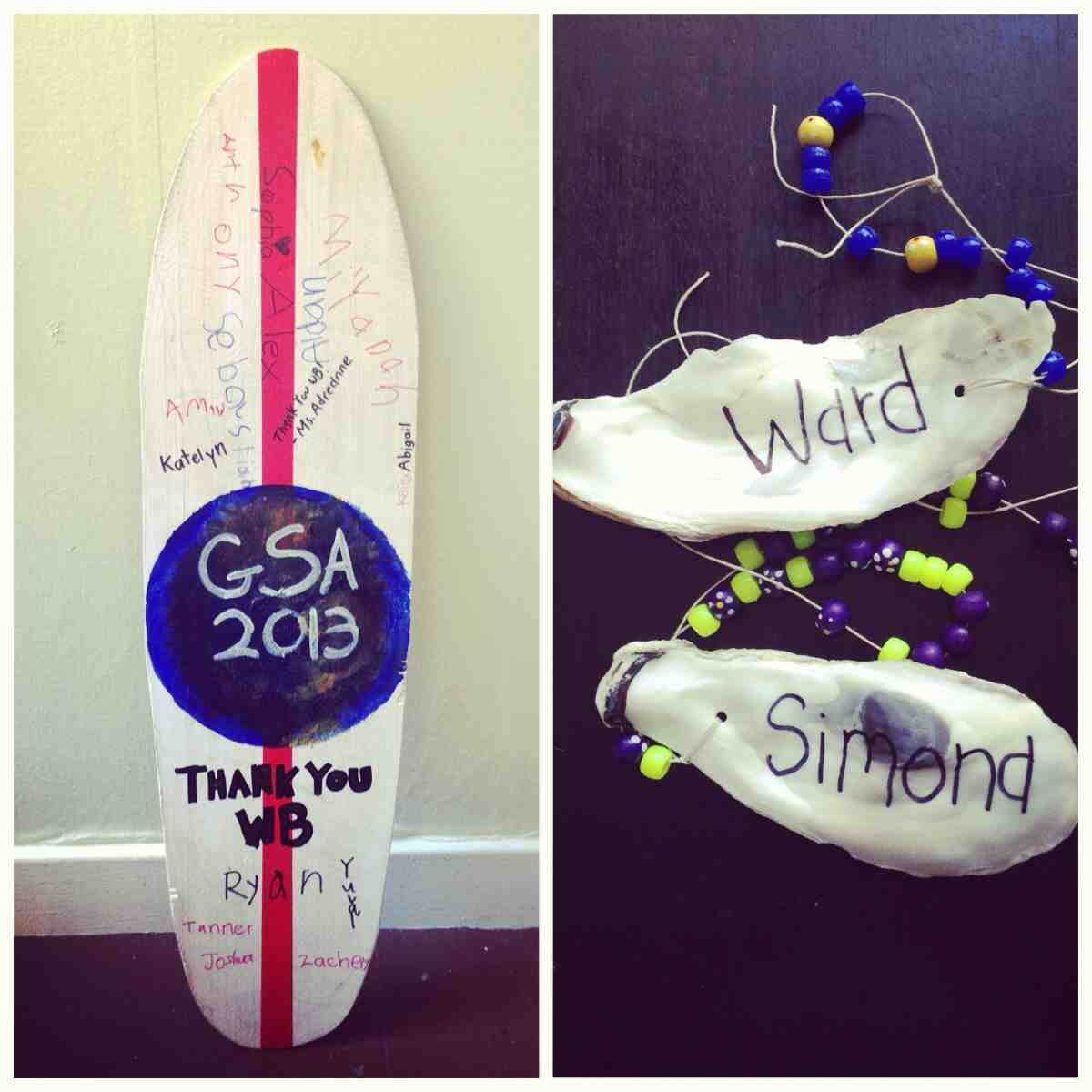 Our 'thank you' surfboard from the class and our surfboard name tags!