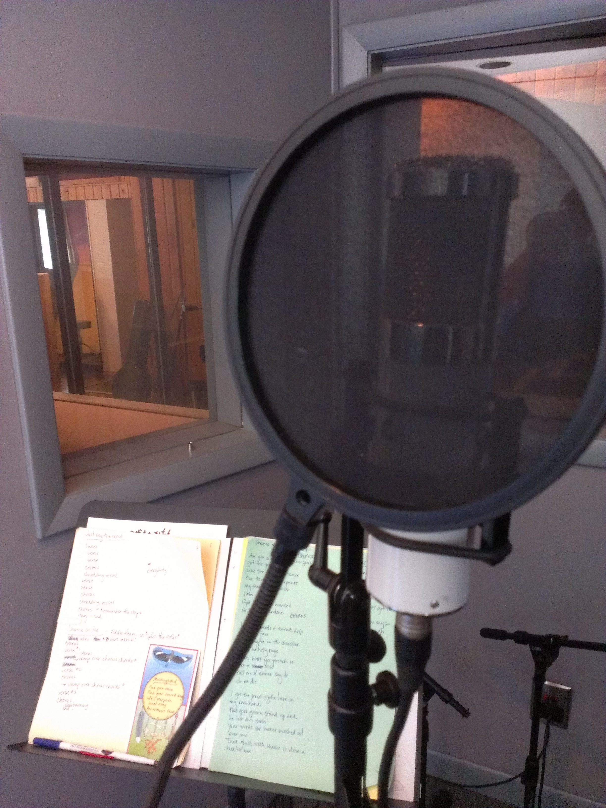 Anna's vocal booth set-up.