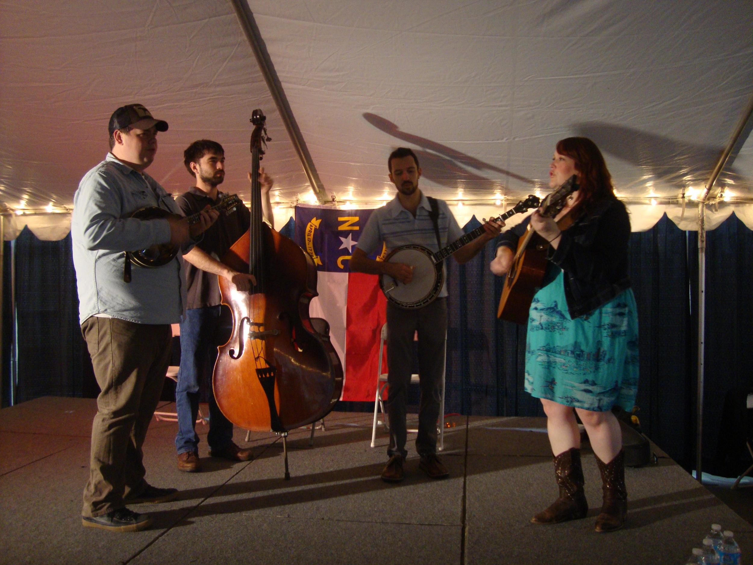 L to R: John Looney, Rob Parks, Kyle Tuttle, Anna Kline. The NC Bluegrass Pavilion, October 27, 2013, Raleigh, NC. Photo courtesy of Jennifer Vinciguerra.