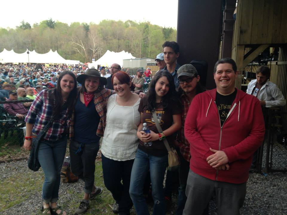 Hometown Asheville gang hanging out by the Cabin & Main Stage at MerleFest 2014!