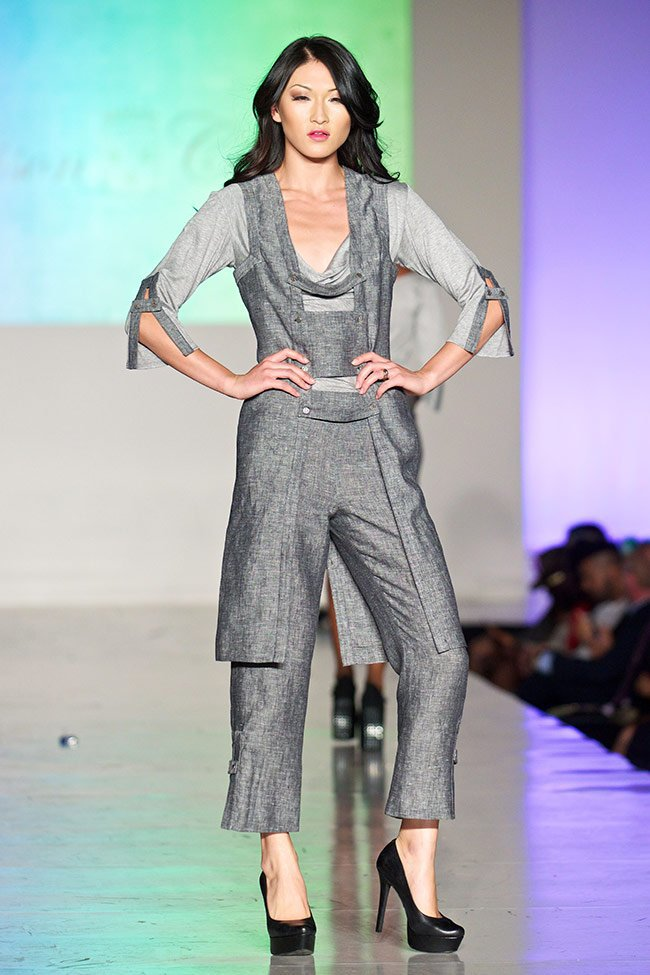 Maison Castel's Three Piece Linen Outfit on the Runway at LA Fashion Week