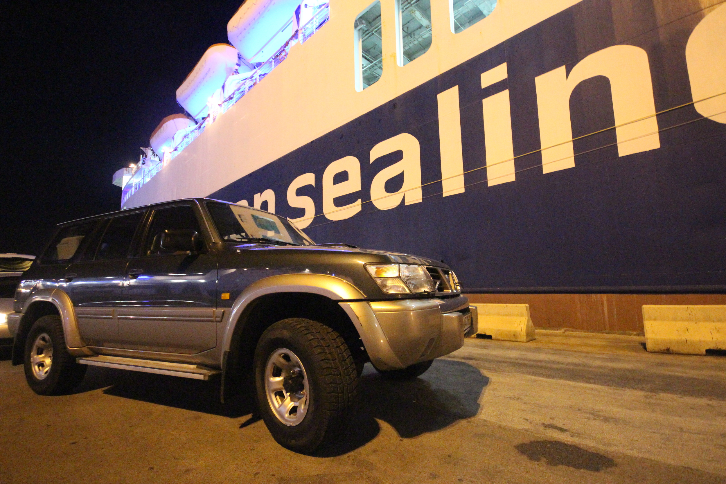 """About to drive our """"new"""" Nissan Patrol onto the overnight ferry to cross the Adriatic and get back home to Albania."""