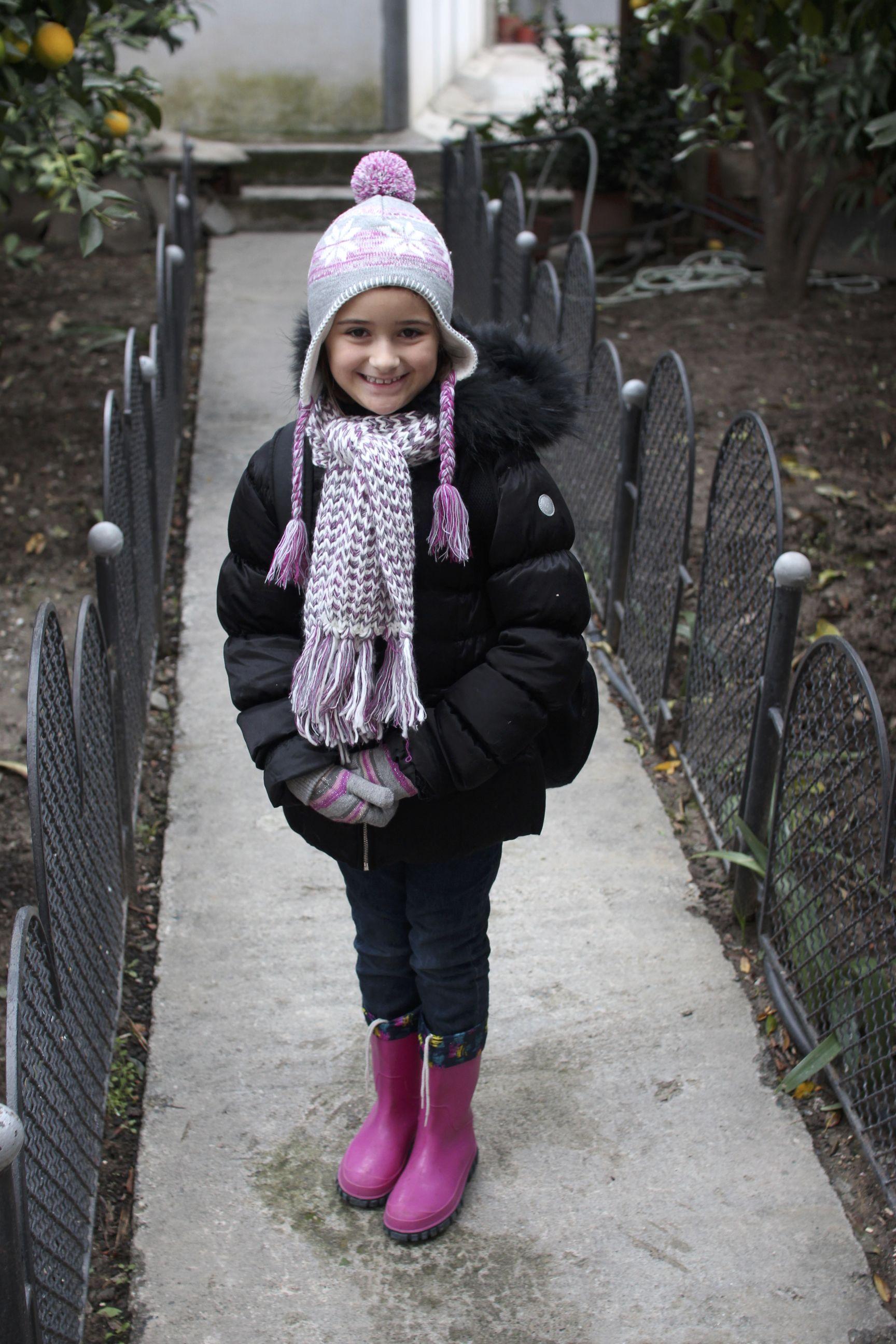 Xhiljana (Jillian) dressed up warm for a cold walk to school.