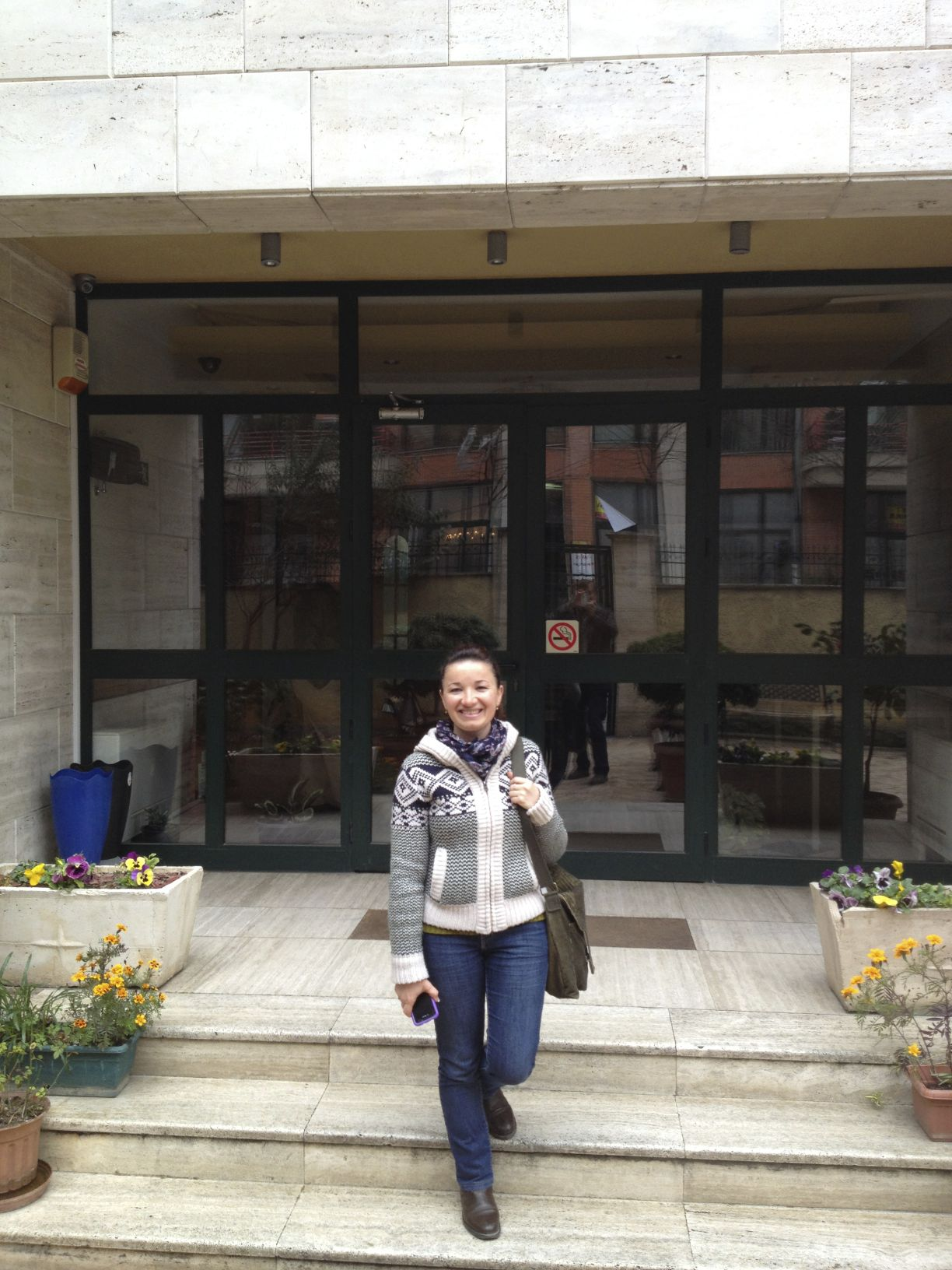 This is a pic of Alfrida standing in front of the Cru headquarters in Tirana. We met Alfrida this past year when she came through NWA and visited New Heights and our weekly global meeting and shared about her ministry in Albania.