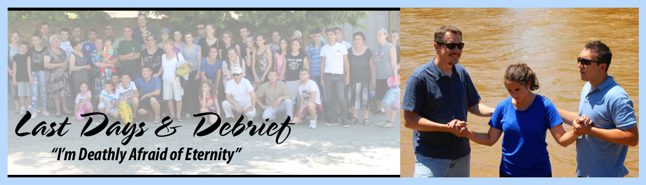 The team had a few more days in Elbasan and then we spent two days in the coastal village of Dhërmi to reflect and debrief.  Our last Sunday in Elbasan, we joined E.P.C., including many of our students, for a worship and picnic.  We were blessed with three baptisms:  Goni, Ken's language tutor; Lori, one of our students; and even one of our own team members - Hannah!  What a great ending to a great six weeks.