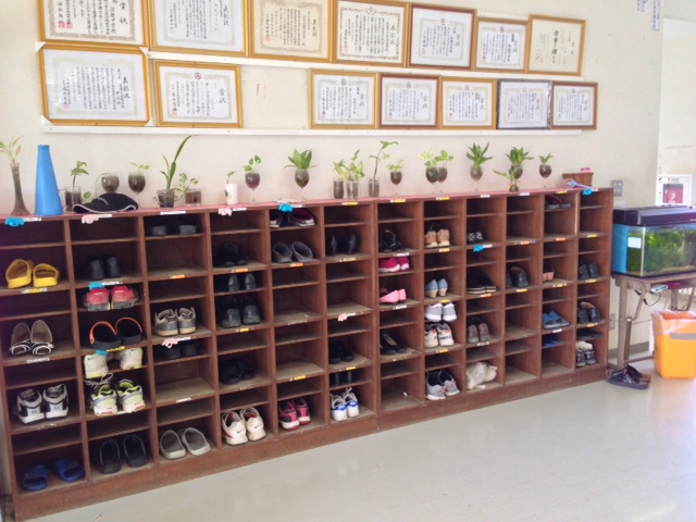 The teachers' shoe cubbies at the junior high