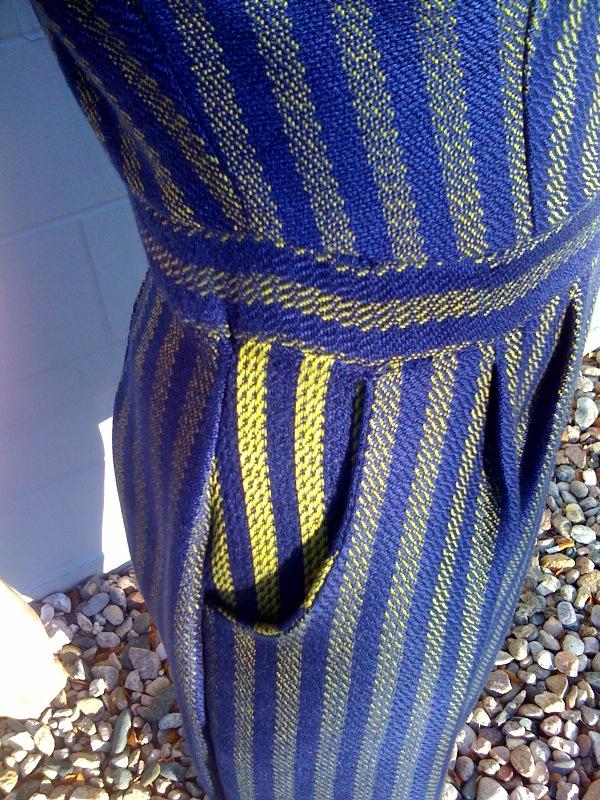 Blue Striped Dress Detail