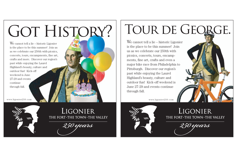 Two ads from a series announcing the coming events of the 250th anniversary celebration of Ligonier, PA.