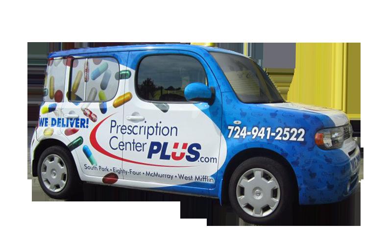 Vehicle wrap for Prescription Center Plus.