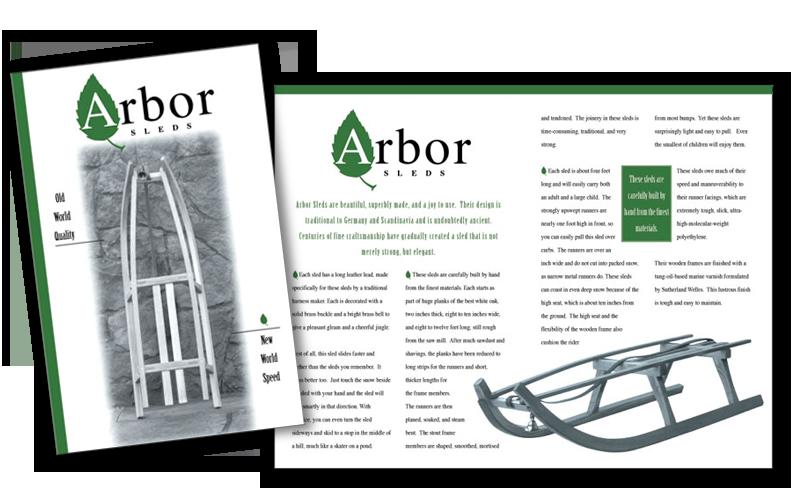 Brochure for Arbor Sleds.