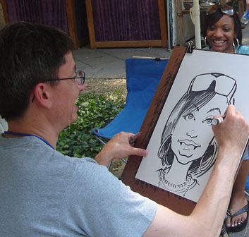 Jeff Harris caricature at Three Rivers Arts Festival