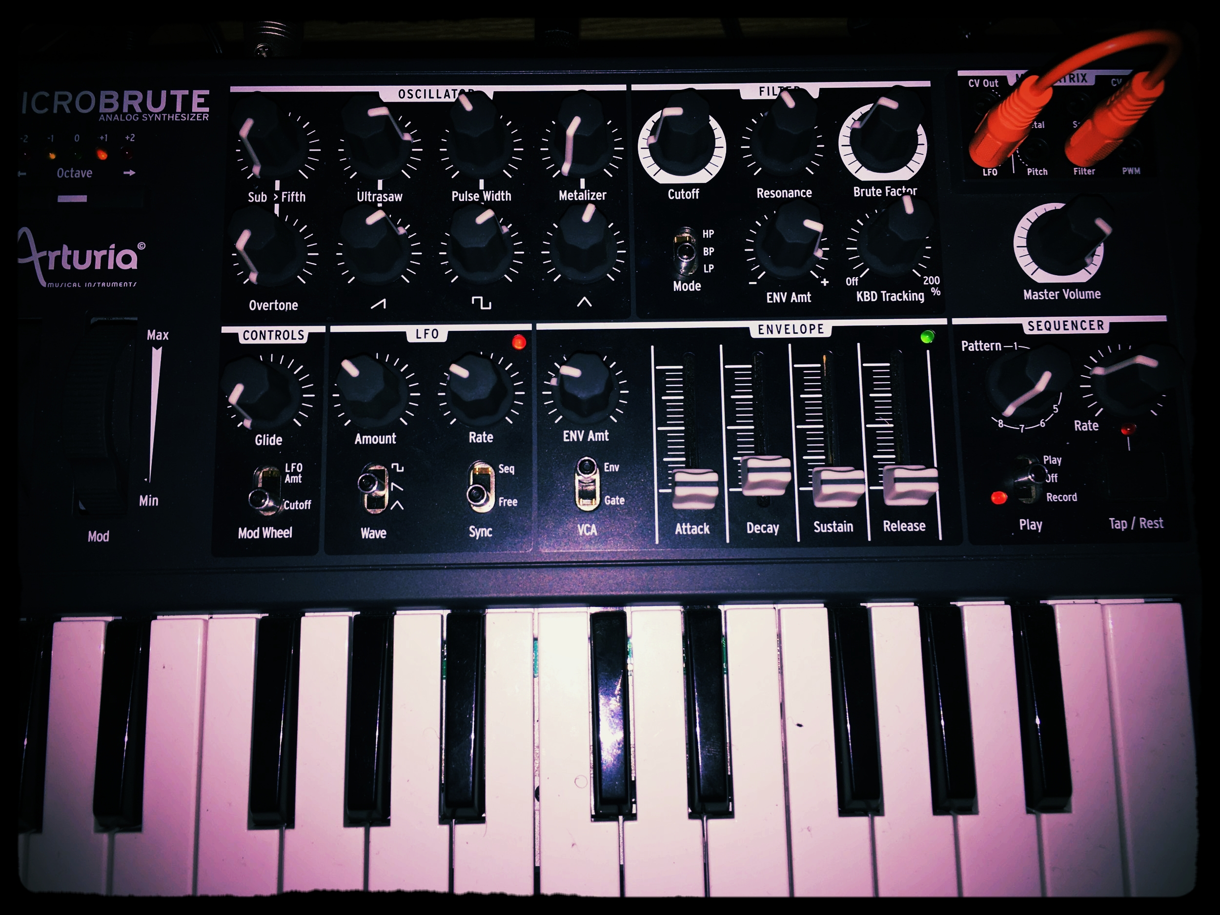 Arturia MicroBrute - This tiny powerhouse of a synth increases the flexibility of my setup by adding a keyboard, another ocsillator,  additional modulation with the LFO, ADSR envelope, mod wheel, pitch bend and sequencer. The MicroBrute can be used to control the SkyLab or SkyLab can control the MicroBrute by MIDI or CV.