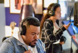 "Multi-grammy award winning producer Eric ""took"" Ortiz of J.U.S.T.I.C.E. League working with his sister Gabby. September 10, 2018"