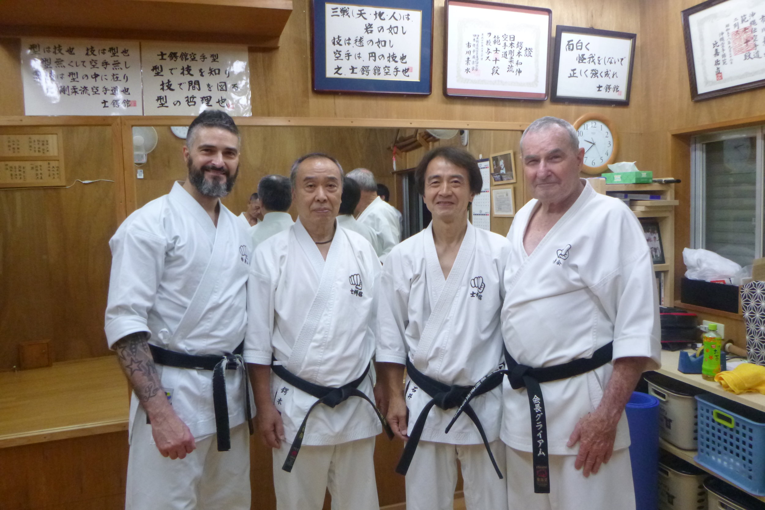This pic shows sensei's Lincoln and Graeme with Tsubamoto Sensei and Ishii Sensei, in the Shigaku Kan dojo, Tokyo, in October, 2018.