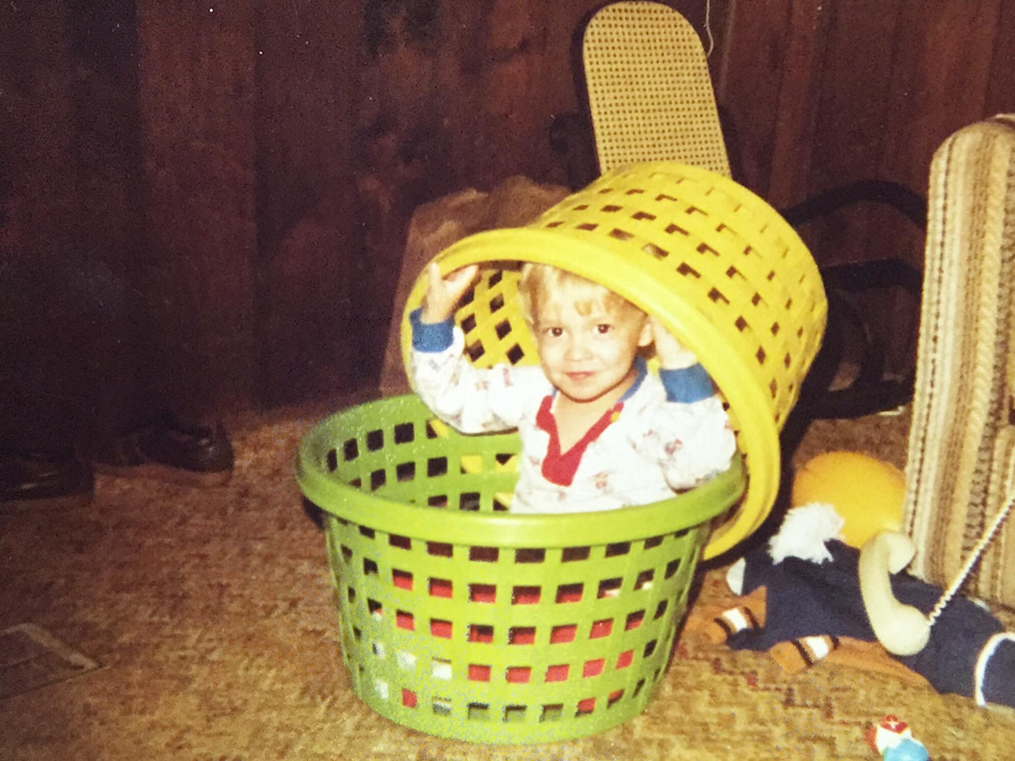 kid basket green yellow