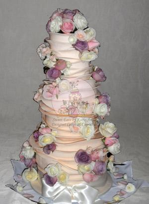Sally & Sean Ruffled Wedding Cake with Fresh Roses