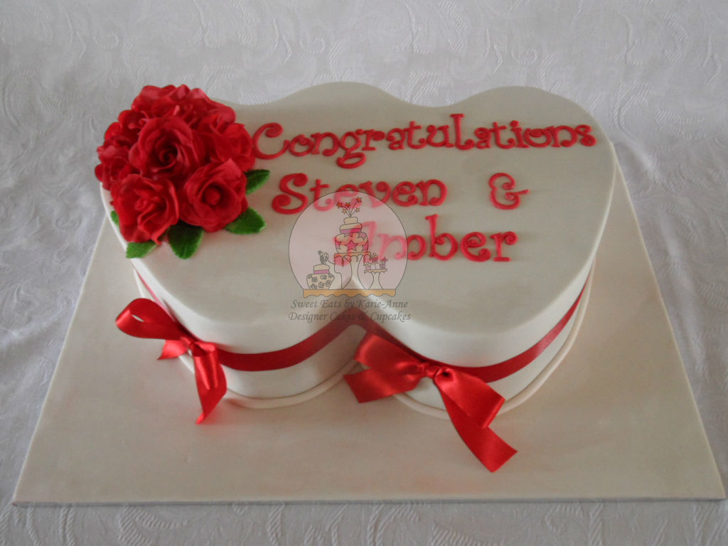 Double Heart Engagement Cake