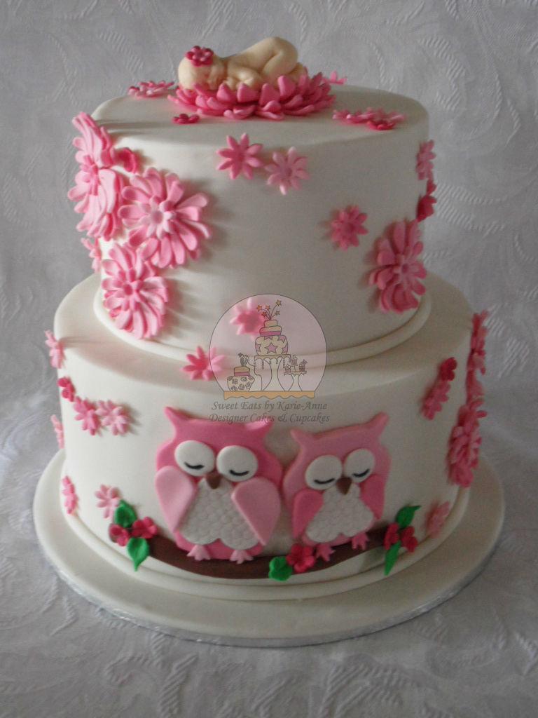 Owl themed Baby Shower Cake