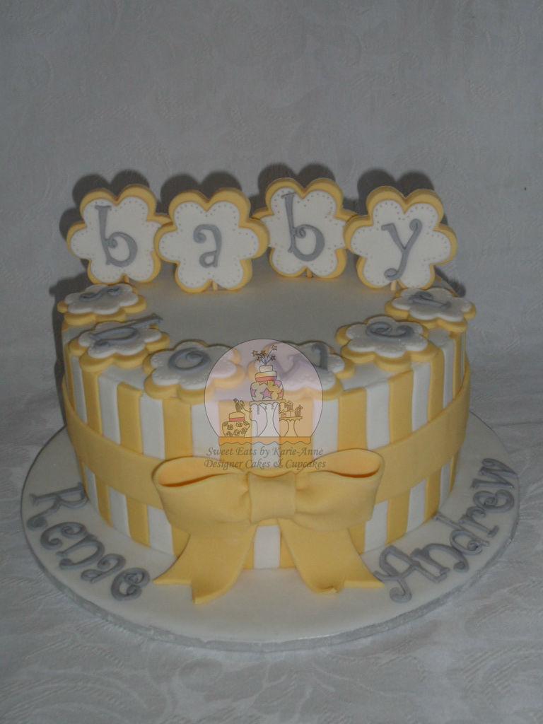 Lemon & White Stripe Baby Shower Cake