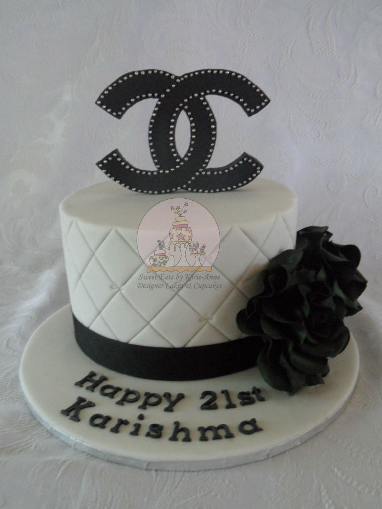 Chanel themed 21st Birthday Cake with handmade black roses