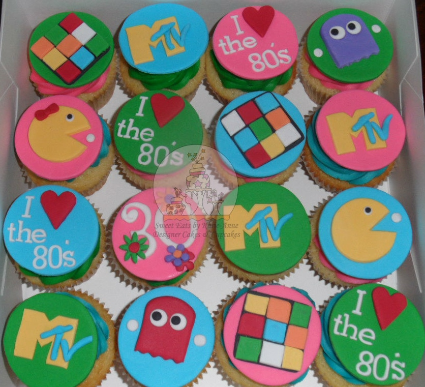 80's themed cupcakes