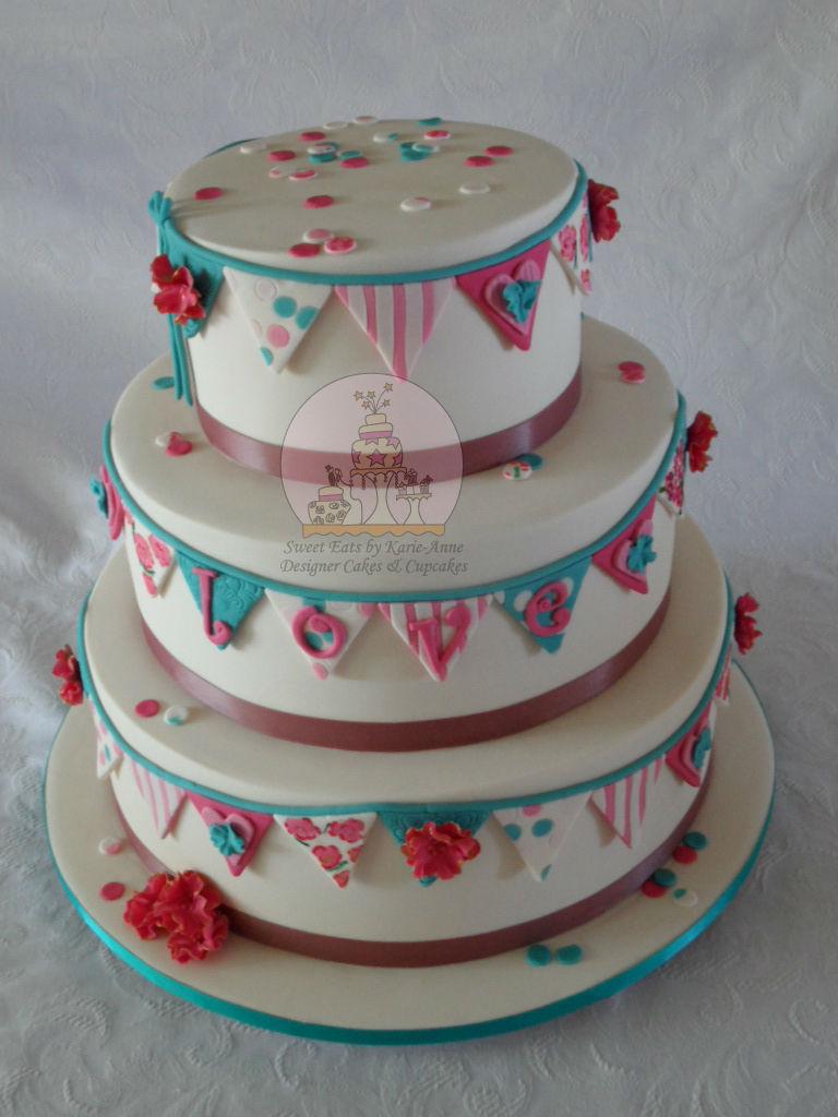 Confetti & Bunting inspired Wedding Cake