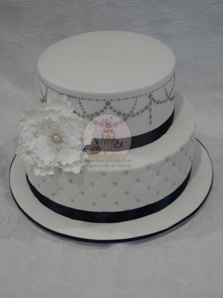 Navy & Silver themed Wedding Cake