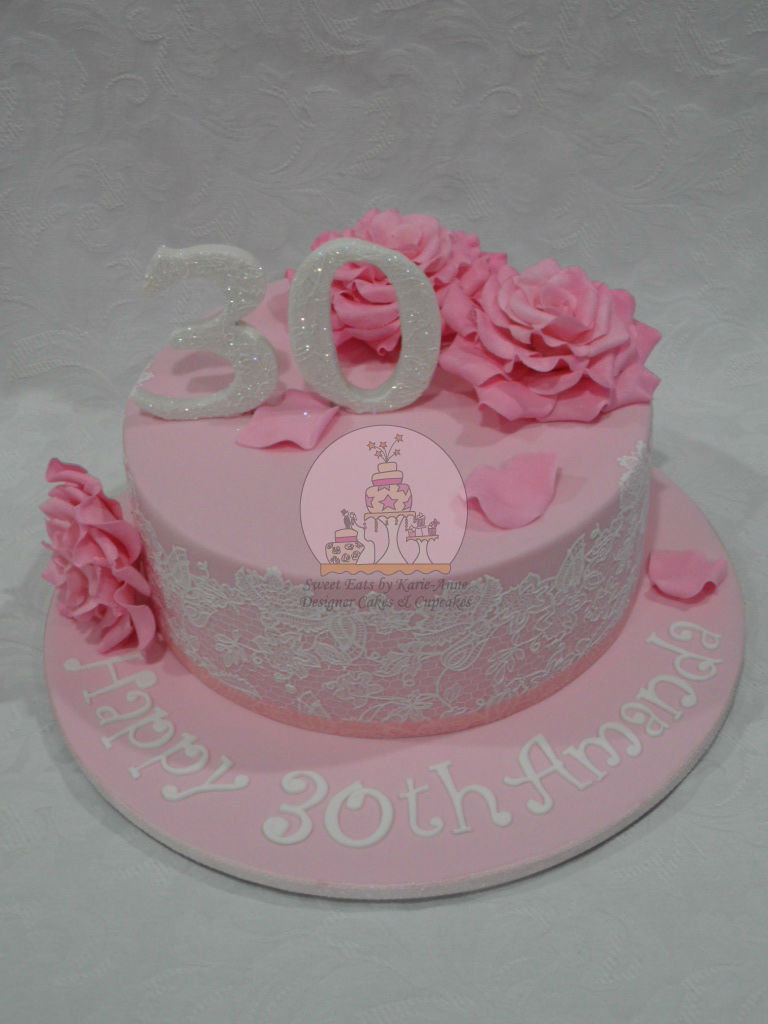 Roses and Lace 30th Birthday Cake