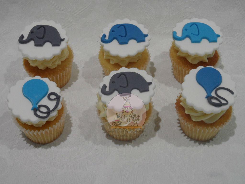 Elephant Topper Christening Cupcakes