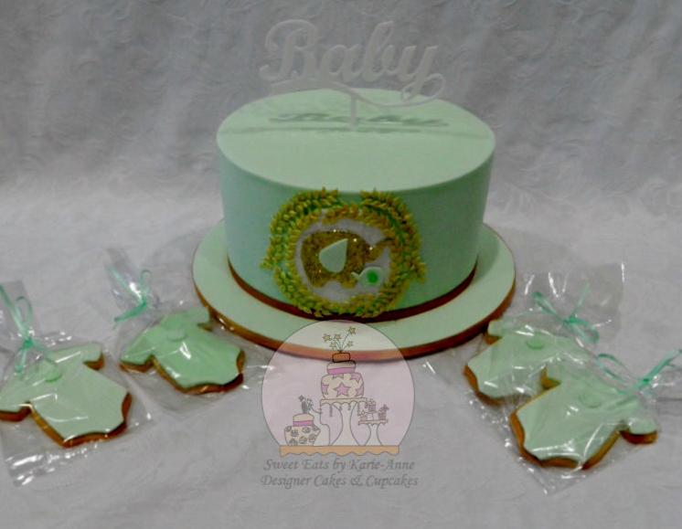 Glitter Elephant themed Baby Shower Cake & Cookies