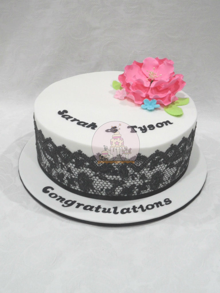 Blace Lace Peonie Engagement Cake