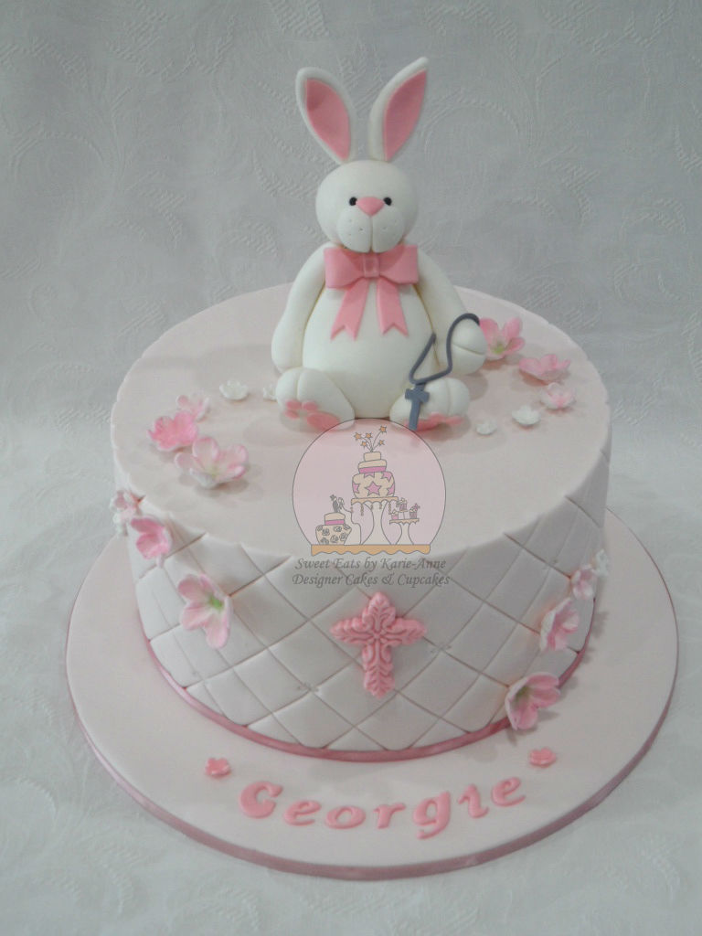 Rabbit Blossom Christening Cake