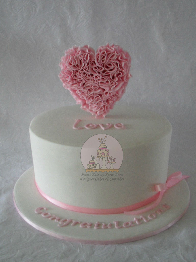 Ruffled Heart Love Engagement Cake