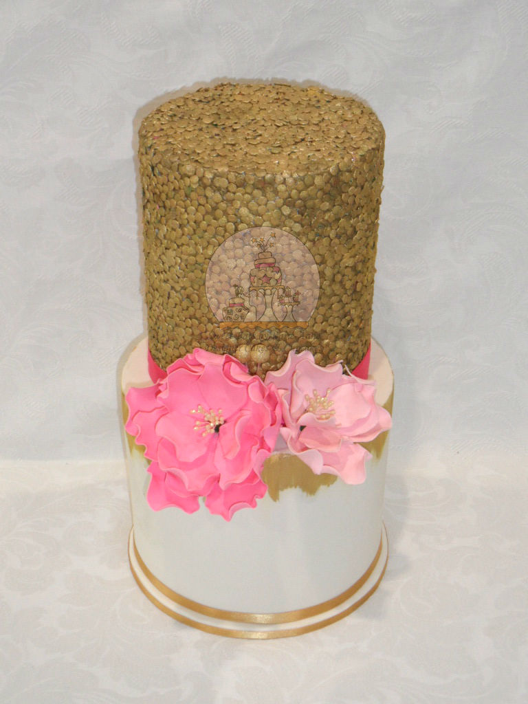 Gold Sequinned Wedding Cake with Peonies