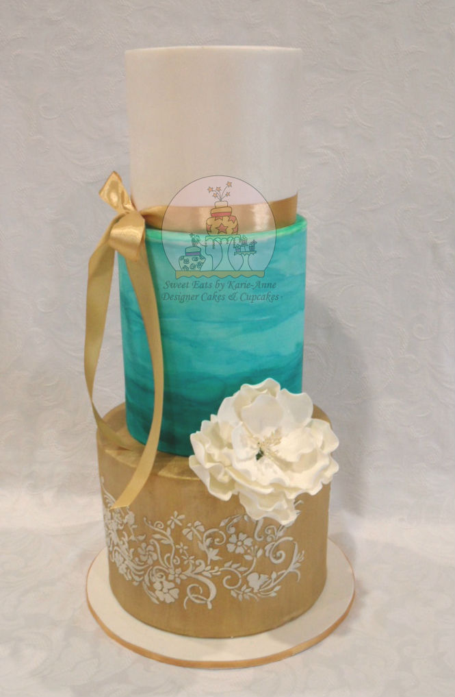 Teal Watercolour Wedding Cake with Peonie