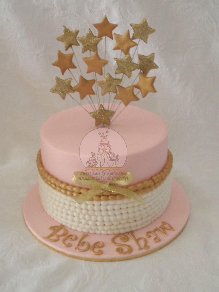 Vintage Gold & Pink Baby Shower Cake