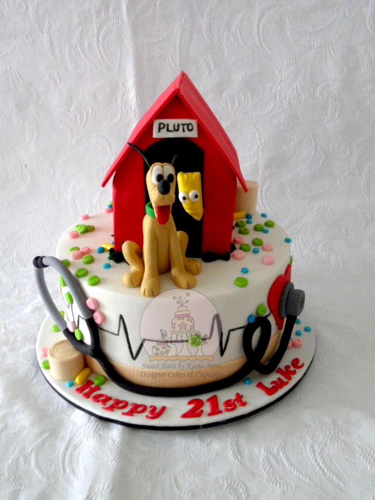 21st Birthday Cake with Medical theme, Pluto & Bart Simpson