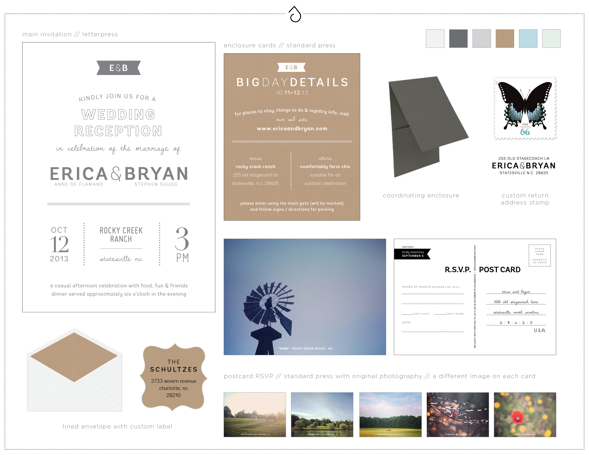 Design preview for Erica + Bryan's main invitation in their suite-hearts package.