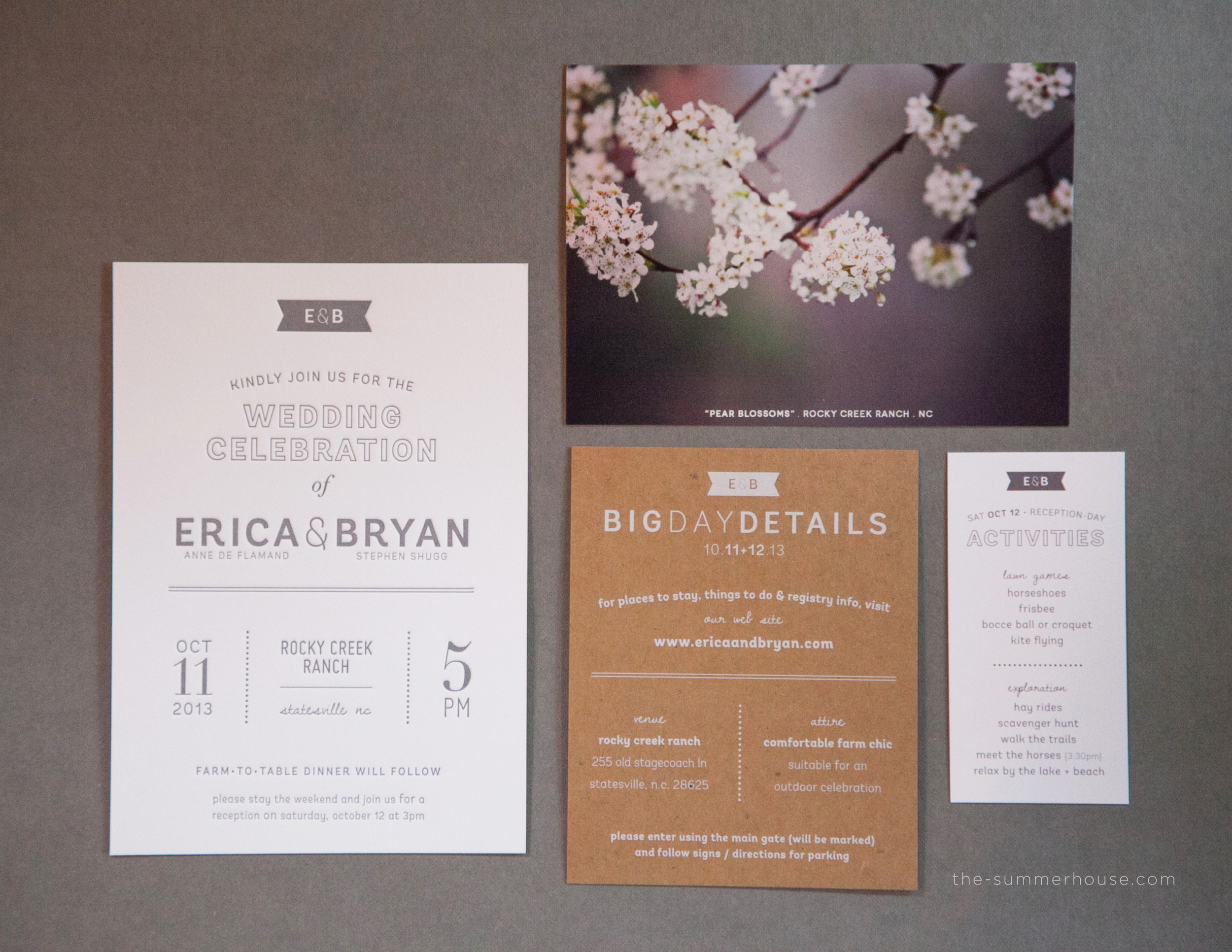 The final product for Erica + Bryan's main invitation in their suite-hearts package.  1/0 letterpress on 110# crane fluorescent white, combined with a white ink on 20pt kraft paper details card and offset press RSVP postcard each containing a unique photographic image. All elements were packaged in a slate gray enclosure and mailed in a kraft-lined snow white envelope with custom address label and rubber stamp.