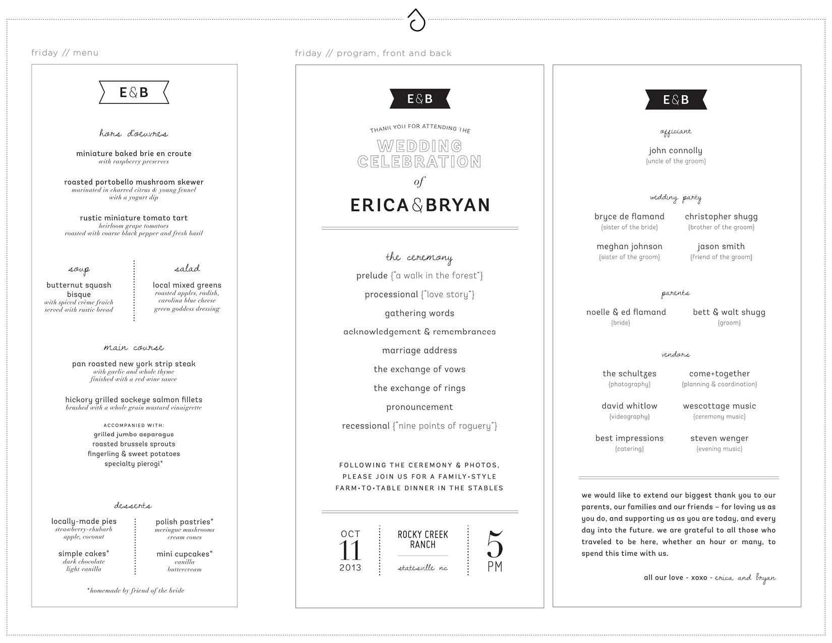 Friday Dinner Menu and Friday Ceremony Program - Erica & Bryan 10.11+12.13